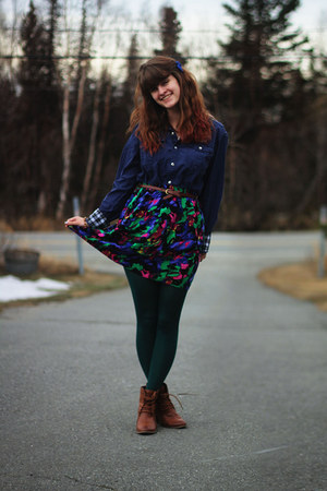 hot pink skirt - bronze boots - navy shirt - dark green tights