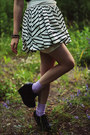 Black-polka-dot-dress-light-purple-socks-white-striped-asos-skirt