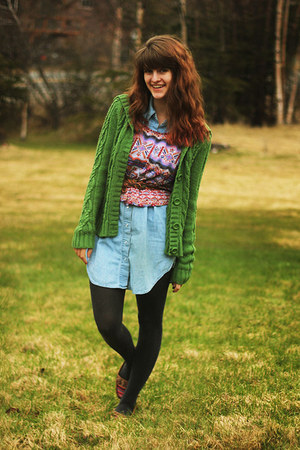 sky blue denim dress - dark green sweater - maroon geometric shirt - gray tights