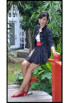 black stYLS blazer - red belt - red shoes - black skirt