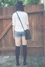 Black-thrifted-bag-blue-jean-diy-shorts-ivory-thrifted-top
