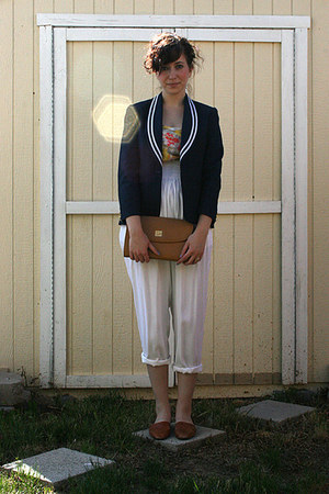 navy Ralph Lauren blazer - cream floral thrifted vintage scarf - white thrifted 