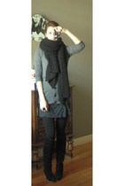 gray Massimo Dutti cardigan - black Coolcat dress - black  belt - black H&M acce