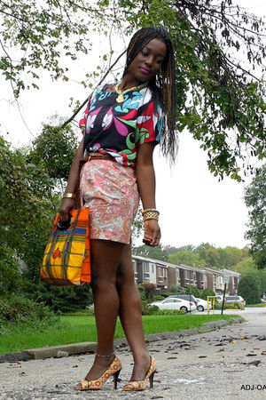 Nichole Miller top - DIY bag - bubble gum H&M skirt - mustard Callitspring heels
