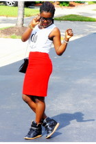 red velvet Michael Kors skirt - white text top Marshalls t-shirt