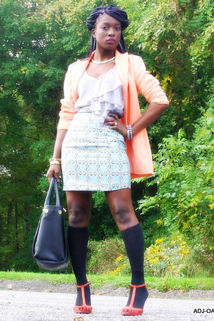 black Nichole Miller socks - peach thrifted blazer - silver JCP shirt
