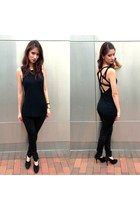 black Urban Outfitters top - black Juicy Couture heels - black Uniqlo pants