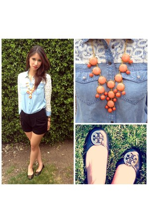 carrot orange statement J Crew Inspired necklace - black tailored H&M shorts