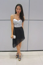 silver no brand skirt - silver clutch bag - ivory lace corset no brand bodysuit