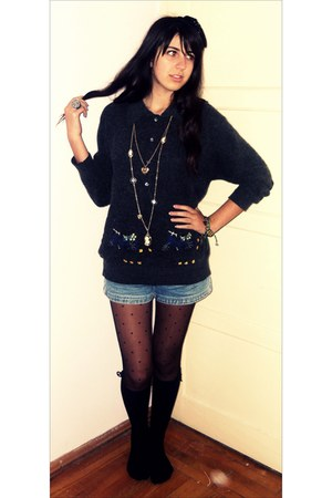 Zara tights - H&M shorts - Zara jumper - H&M necklace