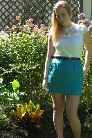 turquoise blue vintage skirt - white le chateau blouse
