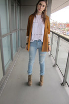 mustard mustard Zara blazer - light blue ripped denim H&M jeans