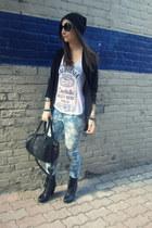 sky blue floral print Forever 21 jeans - black beanie Artex hat