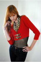 red Leather Lace And Velvet Vintage jacket - blue BDG jeans