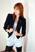 blue Leather Lace And Velvet Vintage blazer - blue f21 shorts - white H&M top