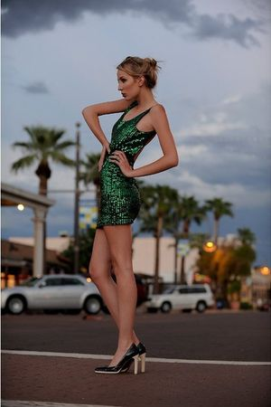 green Leather Lace And Velvet dress - black Miu Miu shoes