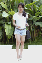 white SM Dept Store t-shirt - sky blue hollister shorts