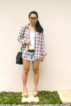 ruby red Uniqlo top - light brown Forever 21 boots - sky blue hollister shorts