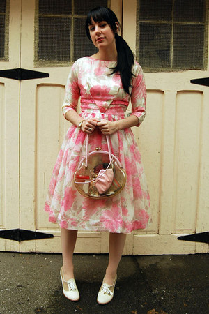bubble gum vintage dress - light pink vintage bag - off white Rachel Comey heels