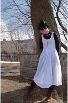 vintage boots - vintage dress - Mango leggings - vintage blouse - Nowegian Wood