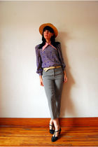 detachable collar accessories - vintage blouse - vintage belt - vintage pants -