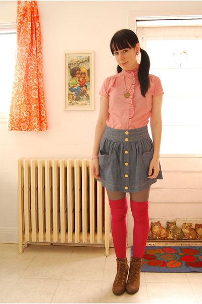 H&M socks - love pendant Etsy necklace - Forever 21 skirt - vintage blouse - boo