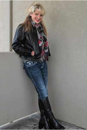 floral Icing scarf - black leather boots Expressions boots - Buckle jeans