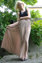 black oversize H&M top - light pink transparent selfmade skirt