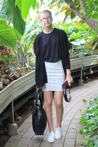 lace selfmade skirt - black Topshop Tall shirt - leather pieces bag