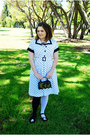 Black-ghost-em-sprout-shoes-white-polka-dot-vintage-dress