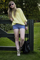 violet Topshop shorts - yellow vintage blouse