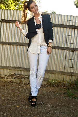 black Topshop shoes - white bardot jeans - white Dont Ask Amanda shirt - black b