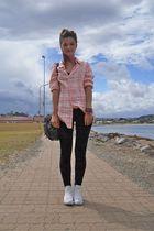 pink Sportsgirl shirt - white Converse shoes - black cotton on leggings