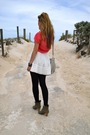 Red-cotton-on-body-t-shirt-white-bardot-skirt