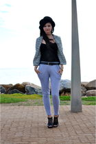 black Anne Michelle shoes - gray supre pants - black bardot