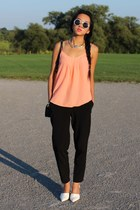 black tory burch bag - black Forever 21 pants - orange Talula top