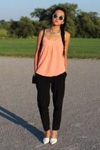 black tory burch bag - black Forever 21 pants - orange Talula top