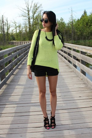 black Forever 21 shorts - lime green Zara sweater - black Haute1 necklace