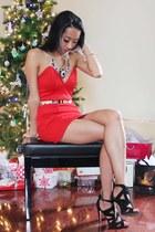 red Forever 21 dress - black Zara heels - gold Mendecino necklace