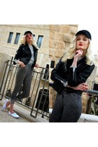 charcoal gray H&M pants - black Mango hat - black Mango jacket