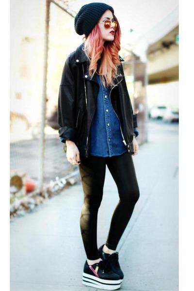 black karazii shoes - black Modekungen jacket - black Shopmarkethq leggings
