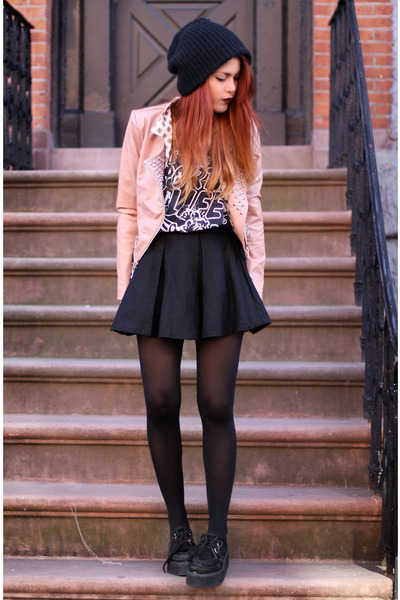 light pink Queens Wardrobe jacket - black romwe shoes - black chciwish skirt