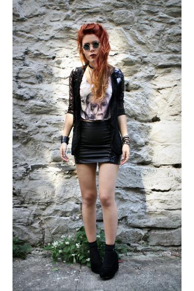 black Forever 21 skirt - white made by me t-shirt - black pretty sunday cardigan