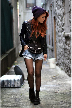black second hand jacket - black romwe shoes - light blue second hand shorts