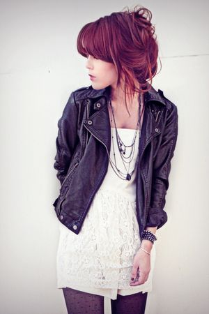 black Forever 21 jacket - white Self Made dress - gray Claires tights