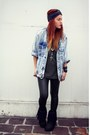 Black-aukoala-boots-light-blue-vintage-jacket-black-gigi-vintage-leggings