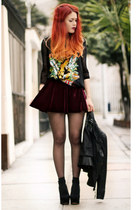 maroon Camote Soup skirt - black Jessica Buurman shoes
