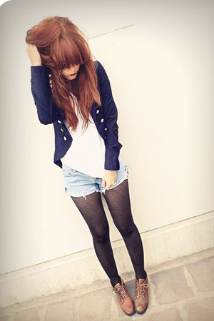 black 529 tights - brown vintage shoes - blue f21 blazer - blue vintage shorts