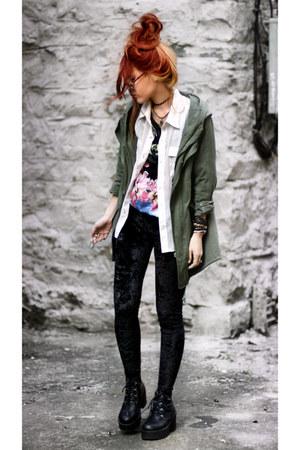 Chicwish coat - Modekungen shoes - romwe leggings - romwe blouse - Blouse blouse