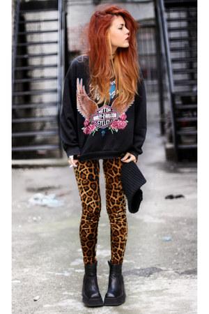 black second hand sweater - black vintage boots - bronze evil twin pants